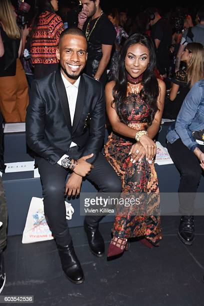 Eric West and Tashiana Washington attend the Vivienne Tam fashion show during New York Fashion Week The Shows at The Arc Skylight at Moynihan Station...