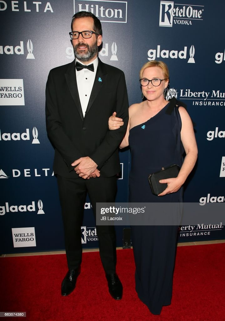 Eric White and Patricia Arquette attend the 28th Annual GLAAD Media Awards on April 01, 2017 in Beverly Hills, California.