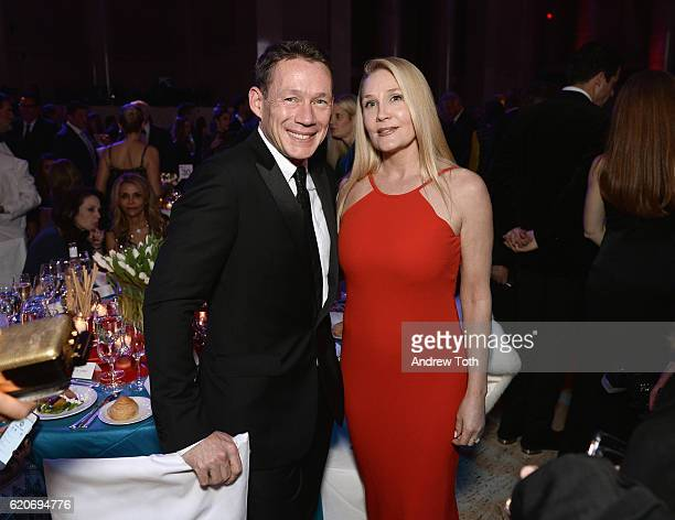 Eric Wilson and Ester Velo Van Hulst attend the Elton John AIDS Foundation's 15th Annual An Enduring Vison Benefit At Cipriani Wall Street at...