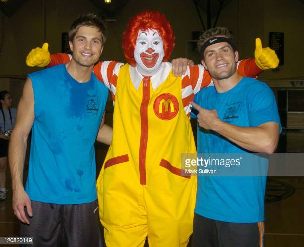 Eric Winter Ronald McDonald and Kyle Brandt during 14th Annual Days of Our Lives Celebrity Basketball Tournament Benefiting Pasadena Ronald McDonald...