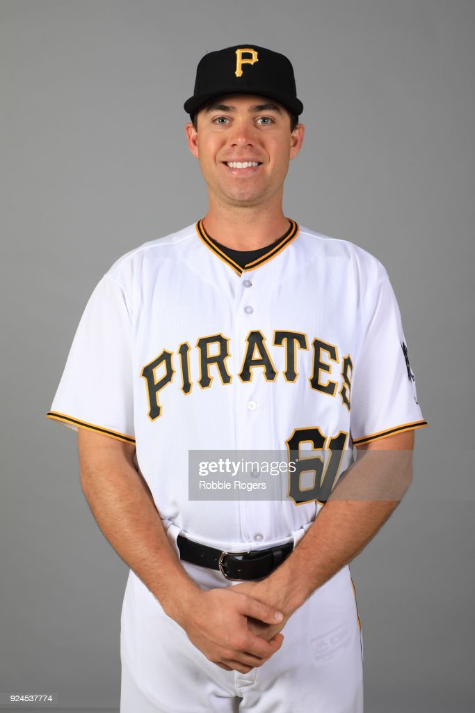 Eric Wood #61 of the Pittsburgh Pirates poses during Photo Day on Wednesday, February 21, 2018 at LECOM Park in Bradenton, Florida.