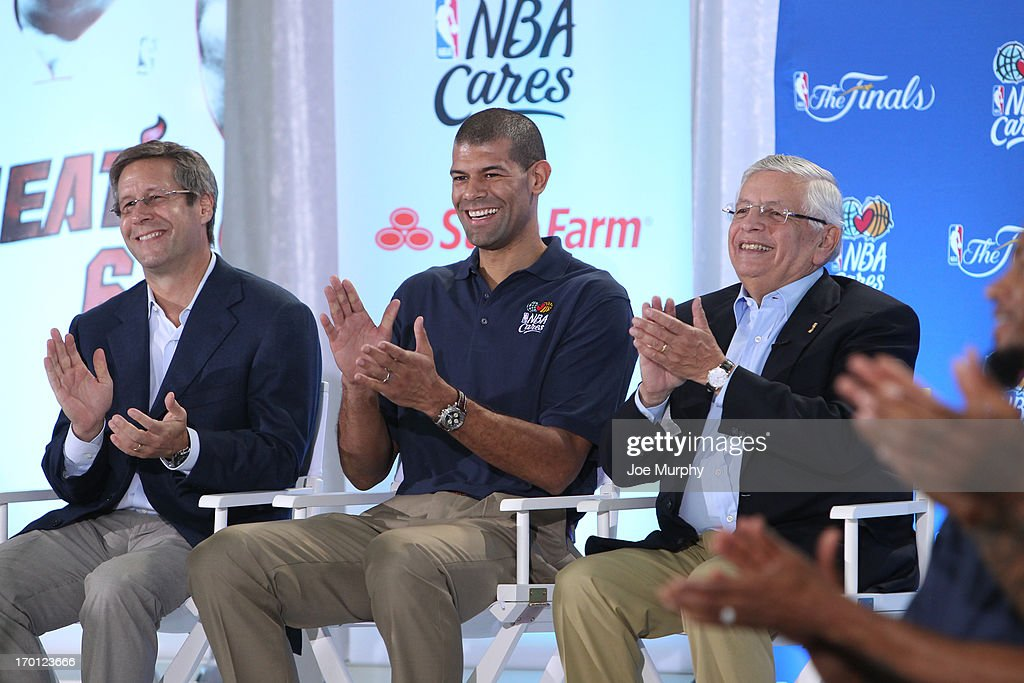 Eric Woolworth President of Business Operations, Shane Battier #31 of the Miami Heat and NBA Commissioner David Stern at the 2013 NBA Finals Legacy Project as part of the 2013 NBA Finals on June 7, 2013 at the Joe Celestin Center in Miami, Florida.
