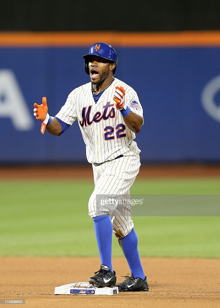 Eric Young Jr. #22 of the New York Mets reacts after he is caught stealing second in the seventh inning against the Atlanta Braves on July 23, 2013 at Citi Field in the Flushing neighborhood of the Queens borough of New York City.