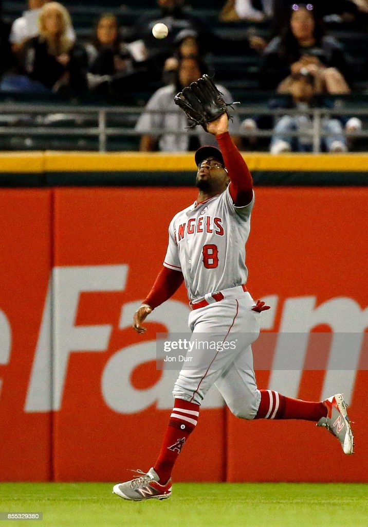Eric Young Jr. #8 of the Los Angeles Angels of Anaheim makes a catch for an out against the Chicago White Sox during the eighth inning at Guaranteed Rate Field on September 28, 2017 in Chicago, Illinois. The Chicago White Sox won 5-4.