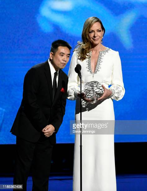 Eric Yuan and Allison Janney speak onstage during the 2020 Breakthrough Prize at NASA Ames Research Center on November 03 2019 in Mountain View...