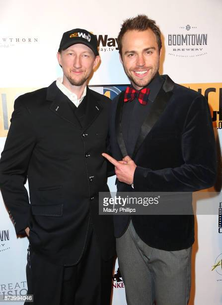 Eric Zuley and Andrew Steel arrive at Flicks4Change film festival Day 2 at Boomtown Brewery on November 13 2017 in Los Angeles California