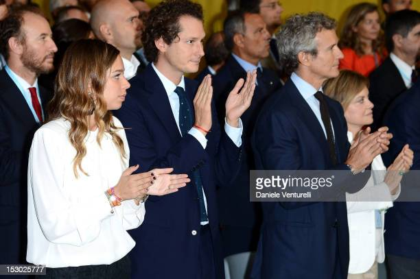 Erica Alessandri Chrysler and Fiat chairman John Elkann and Alessandro Benetton attend the Technogym Village Opening and Wellness Congress on...
