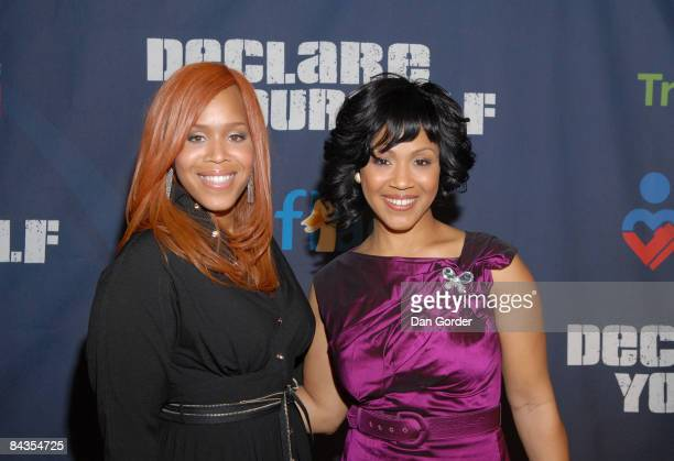 Erica and Tina Campbell aka Mary Mary attend A New Birth of Citizenship inaugural event presented by Declare Yourself at Renaissance Washington Grand...