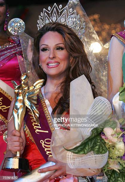 Erica Andrews of Mexico reacts after being crowned Miss International Queen 2006 in Pattaya late 28 October 2006 The world's biggest transsexual...
