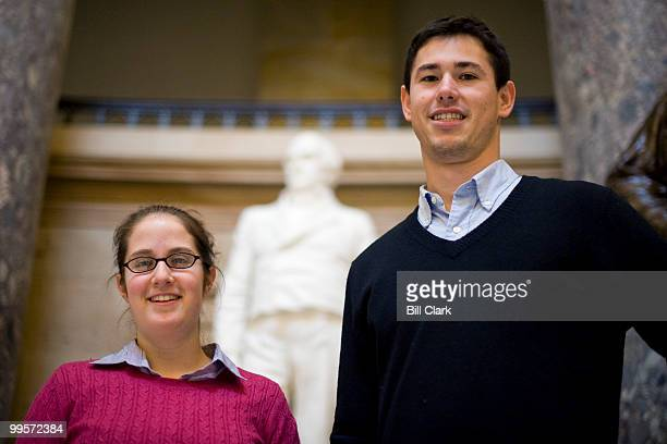 Erica Anhalt and Andrew Zabel pose in front of the Daniel Webster statue in Statuary Hall on Friday, Jan. 29, 2010.