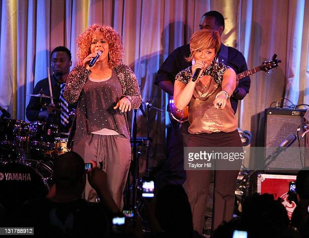 Erica Atkins-Campbell and Tina Atkins-Campbell of Mary Mary perform during their album release party at the Canal Room on February 22, 2011 in New...