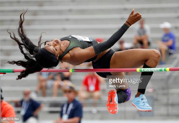 Erica Bougard clears the bar in the Heptathlon High Jump during day 3 of the 2018 USATF Outdoor Championships at Drake Stadium on June 23 2018 in Des...
