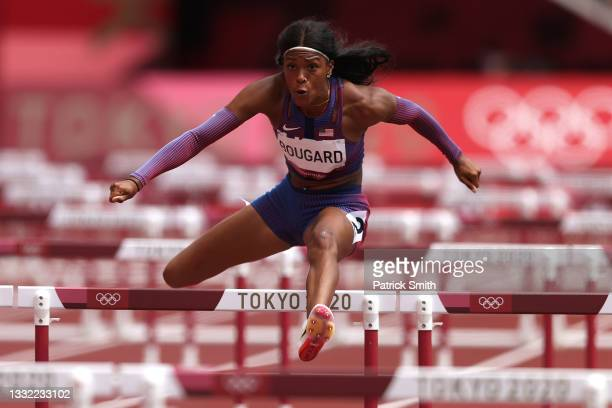 Erica Bougard of Team United States competes in the Women's Heptathlon 100m Hurdles heats on day twelve of the Tokyo 2020 Olympic Games at Olympic...
