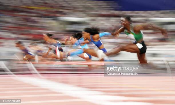 Erica Bougard of the United States competes in the Women's Heptathlon 100 metres hurdles during day six of 17th IAAF World Athletics Championships...