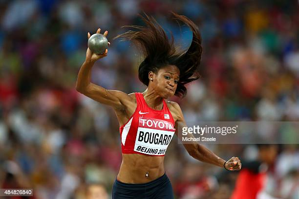 Erica Bougard of the United States competes in the Women's Heptathlon Shot Put during day one of the 15th IAAF World Athletics Championships Beijing...