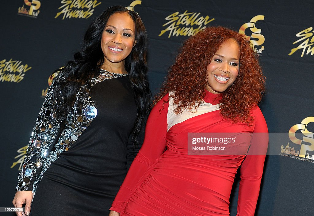 Erica Campbell and Tina Campbell of Mary Mary attend the 28th Annual Stellar Awards at Grand Ole Opry House on January 19, 2013 in Nashville, Tennessee.