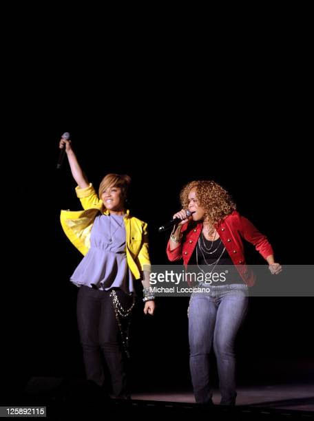 Erica Campbell and Tina Campbell of Mary Mary perform during the 2011 Super Bowl Gospel Celebration at Music Hall at Fair Park on February 4 2011 in...