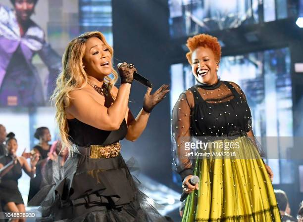Erica Campbell and Tina Campbell of Mary Mary perform onstage during the 2018 American Music Awards at Microsoft Theater on October 9 2018 in Los...