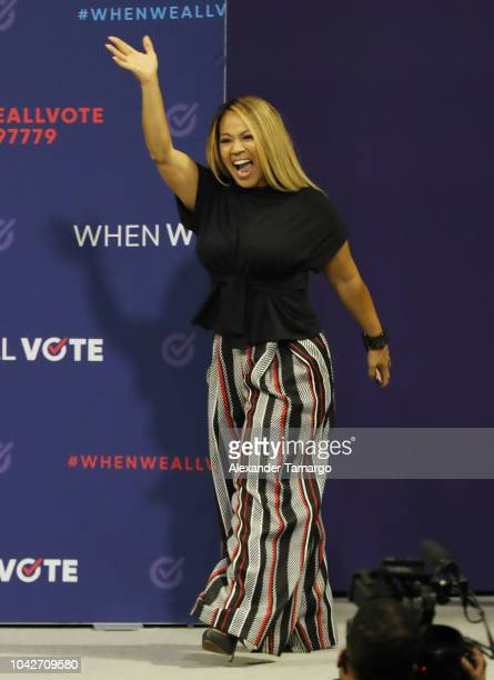 Erica Campbell is seen participating in the When We All Vote Rally at Watsco Center at the University of Miami on September 28 2018 in Coral Gables...