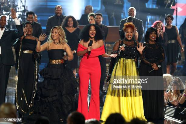 Erica Campbell of Mary Mary Tracee Ellis Ross Tina Campbell of Mary Mary and CeCe Winans speak onstage during the 2018 American Music Awards at...