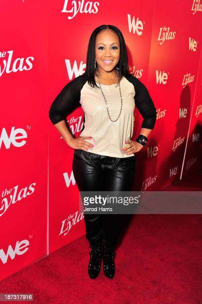 Erica Campbell of the group Mary Mary is seen at WE tv's Celebration for The Premiere Of It's Newest Series The LYLAS at the Warwick on November 7...