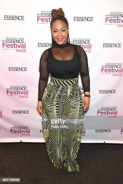 Erica Campbell poses backstage at the 2017 ESSENCE Festival presented by CocaCola at Ernest N Morial Convention Center on July 2 2017 in New Orleans...