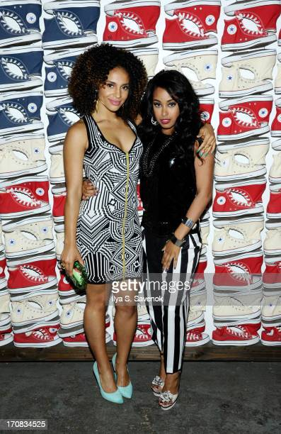 Erica Dickerson and Davetta Sherwood attend Fuse's screening of 'The Hustle' at Converse Rubber Tracks Studio on June 18 2013 in the Brooklyn borough...
