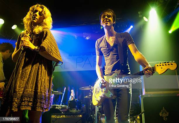 Erica Driscoll and Steve Stout of Blondfire perform at the Billboard Lollapalooza 2013 PreParty at the Double Door on August 1 2013 in Chicago...