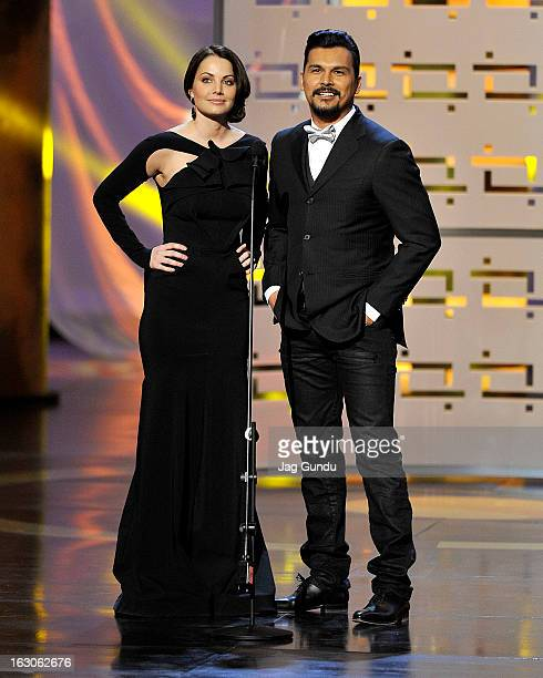 Erica Durance and Adam Beach present at the 2013 Canadian Screen Awards at the Sony Centre for the Performing Arts on March 3 2013 in Toronto Canada