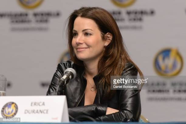 Erica Durance attends Wizard World Chicago Comic Con 2014 at Donald E Stephens Convention Center on August 23 2014 in Chicago Illinois