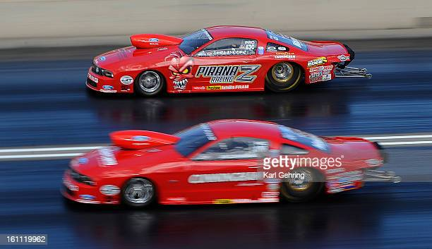 Erica Enders top went headtohead with Jim Cunningham bottom in the Pro Stock division Friday night The Mopar Mile Mile High Nationals at Bandimere...