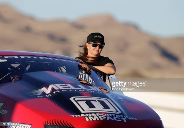 Erica EndersStevens Chevrolet Camaro NHRA Pro Stock drives her race car down the pit return road during the NHRA Toyota Nationals on October 28 2017...