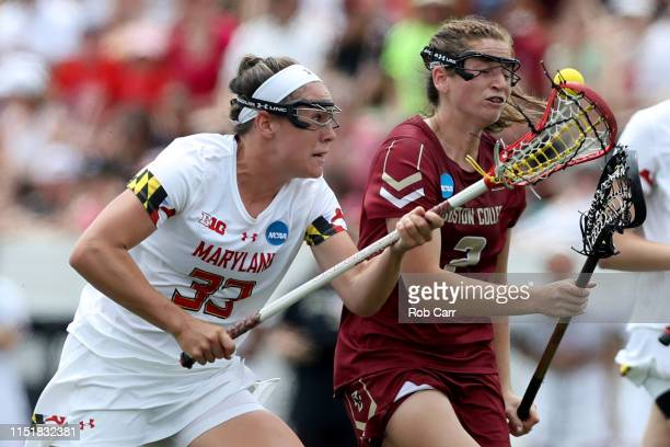 Erica Evans of Maryland Terrapins and Sam Apuzzo of the Boston College Eagles go after the ball in the first half during the 2019 NCAA Division I...