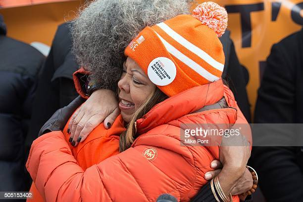 Erica Ford and Lucy McBath attend the 6th Annual New York Peace Week Press Conference at City Hall on January 15 2016 in New York City