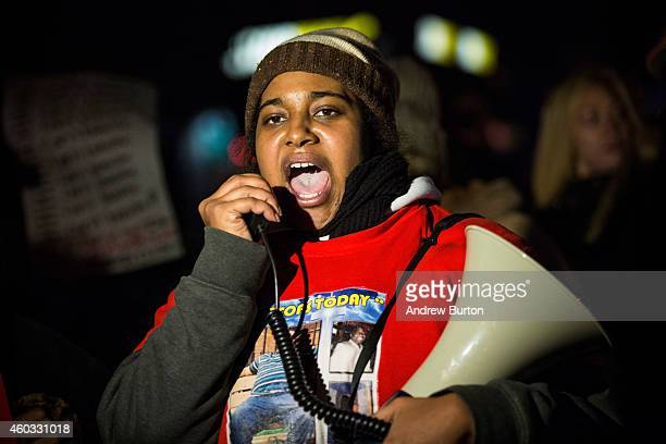 Erica Garner daughter of Eric Garner leads a march of people protesting the Staten Island New York grand jury's decision not to indict a police...