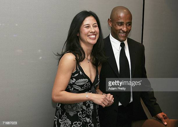 Erica Gregan and Wallabies Captain George Gregan share a laugh at The George Gregan Dinner at ARIA Restaurant on August 21 2006 in Sydney Australia