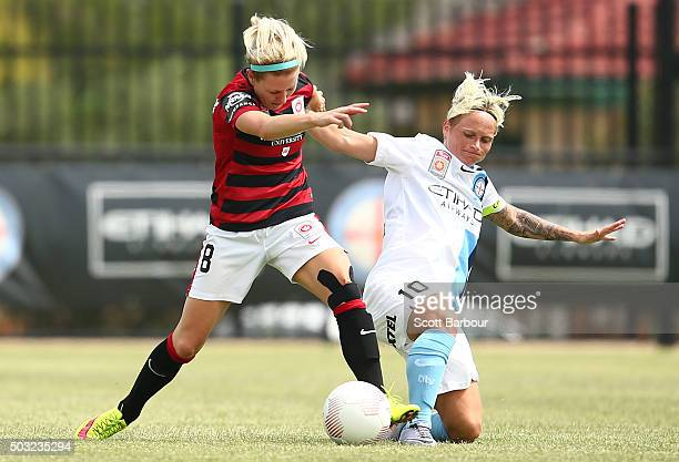 Erica Halloway of the Wanderers and Jessica Fishlock of City FC compete for the ball during the round 12 WLeague match between Melbourne City FC and...