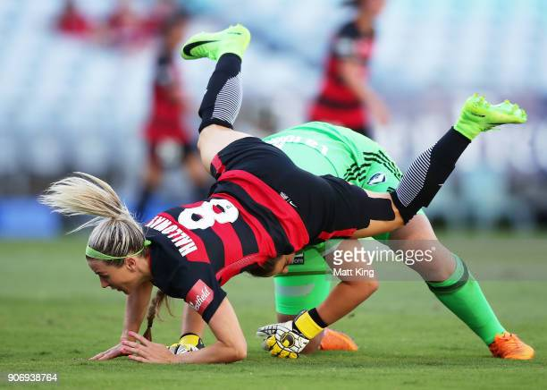 Erica Halloway of the Wanderers collides with Victory goalkeeper Casey Dumont during the round 12 WLeague match between the Western Sydney Wanderers...