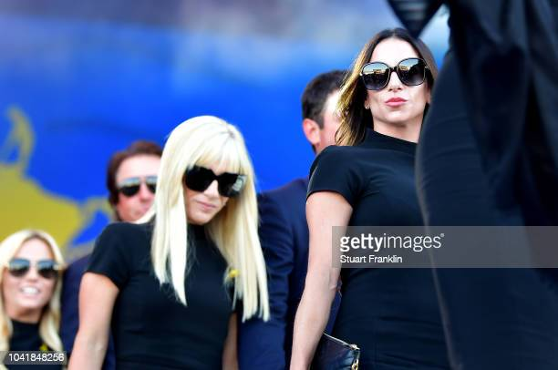 Erica Herman and Justine Reed depart the opening ceremony for the 2018 Ryder Cup at Le Golf National on September 27, 2018 in Paris, France.