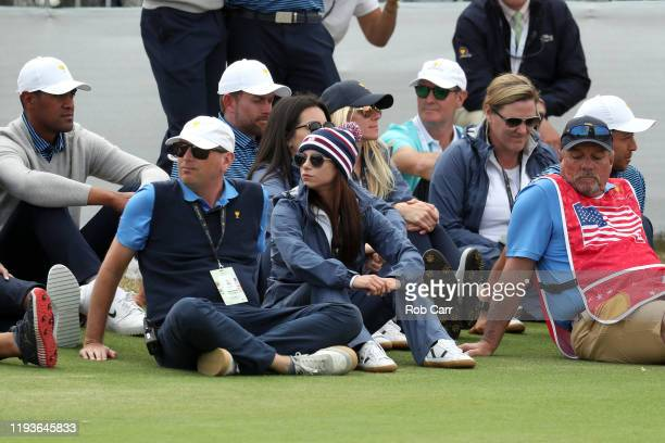 Erica Herman, girlfriend of Playing Captain Tiger Woods of the United States team, looks on during Friday foursome matches on day two of the 2019...