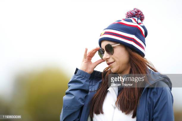 Erica Herman, girlfriend of Playing Captain Tiger Woods of the United States team, looks on during Saturday afternoon foursomes matches on day three...