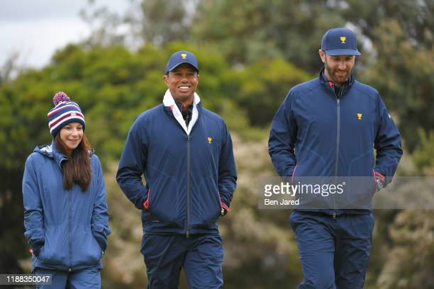 Erica Herman girlfriend of U.S. Team Captain Tiger Woods, and U.S. Teams Dustin Johnson during the third round of four-ball matches at the Presidents...