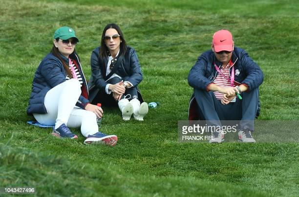 Erica Herman the girlfriend of US golfer Tiger Woods attends the third day of the 42nd Ryder Cup at Le Golf National Course at SaintQuentinenYvelines...