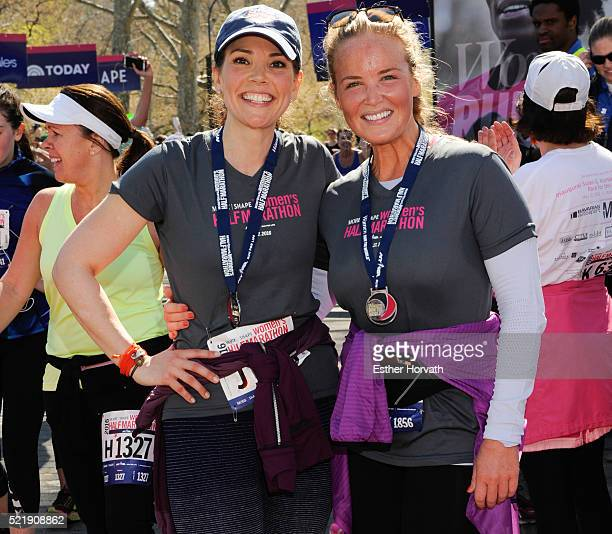 Erica Hill and and Carolyn Manno attend 13th Annual MORE/SHAPE Women's HalfMarathon at Central Park on April 17 2016 in New York City
