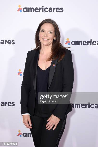 Erica Hill attends the 2019 Americares Airlift Benefit at JPMorgan Chase Hangar at Westchester County Airport on October 05 2019 in White Plains New...