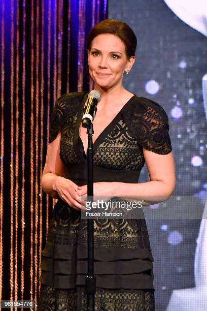 Erica Hill speaks onstage at the 43rd Annual Gracie Awards at the Beverly Wilshire Four Seasons Hotel on May 22 2018 in Beverly Hills California