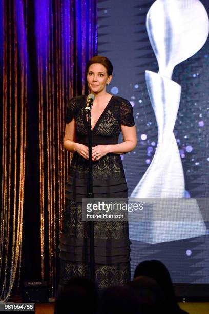 Erica Hill speaks onstage at the 43rd Annual Gracie Awards at the Beverly Wilshire Four Seasons Hotel on May 22, 2018 in Beverly Hills, California.