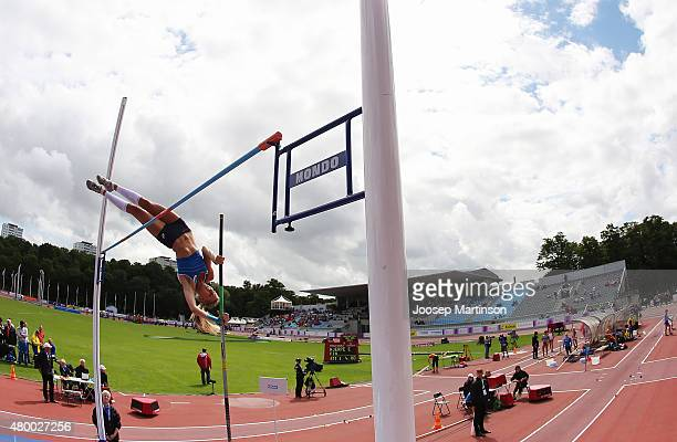 Erica Hjerpe of Finland competes in the Women's Pole Vault qualifying round during day one of the European Athletics U23 Championships at Kadriorg...