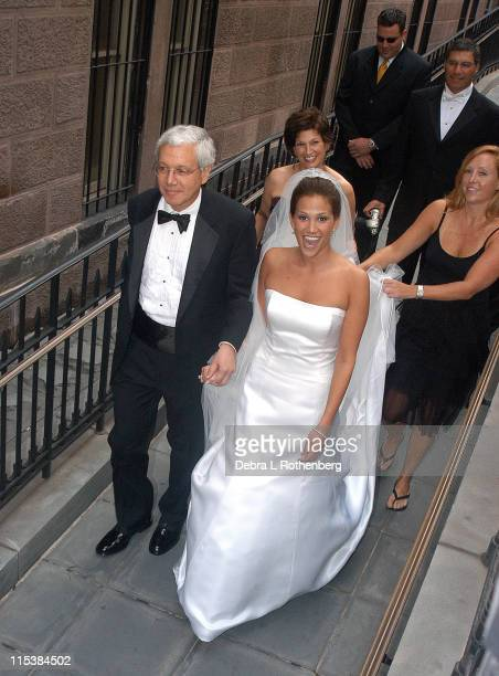 Erica Levy and her father during Geraldo Rivera Weds Erica Levy in New York City on August 10 2003 at Central Synagogue in New York City New York...