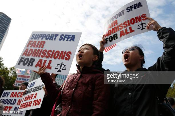 Erica Liu of Bedford left and Lewanna Li of Bedford rally in Boston's Copley Square to support Students for Fair Admissions' lawsuit against Harvard...